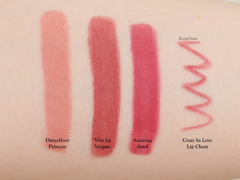 Charlotte Tilbury Hot Lips 2 Swatches: Dancefloor Princess, Viva La Vergara, Amazing Amal, Crazy In Love Lip Cheat