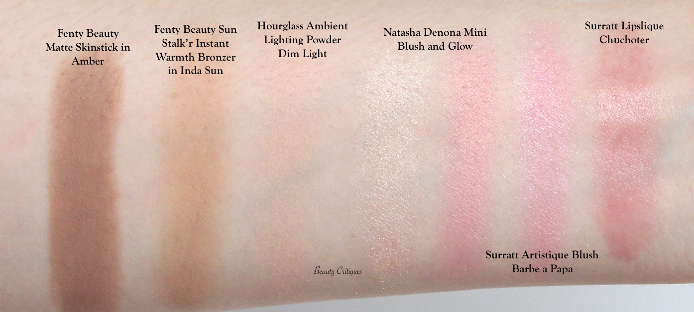 Arm Swatches: Fenty Matte Skinstick in Amber and Sun Stalk'r Instant Warmth Bronzer in Inda Sun, Hourglass Ambient Lighting Powder Dim Light, Natasha Denona Mini Blush and Glow, Surratt Artistique Blush Barbe a Papa and Lipslique in Chuchoter.