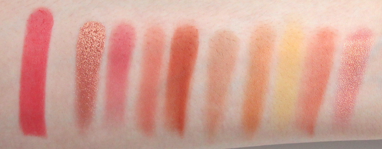 Arm Swatches: Chanel Rouge Allure Velvetin the shade 43 - La Favorite, Huda Beauty Coral Obsessions palette.