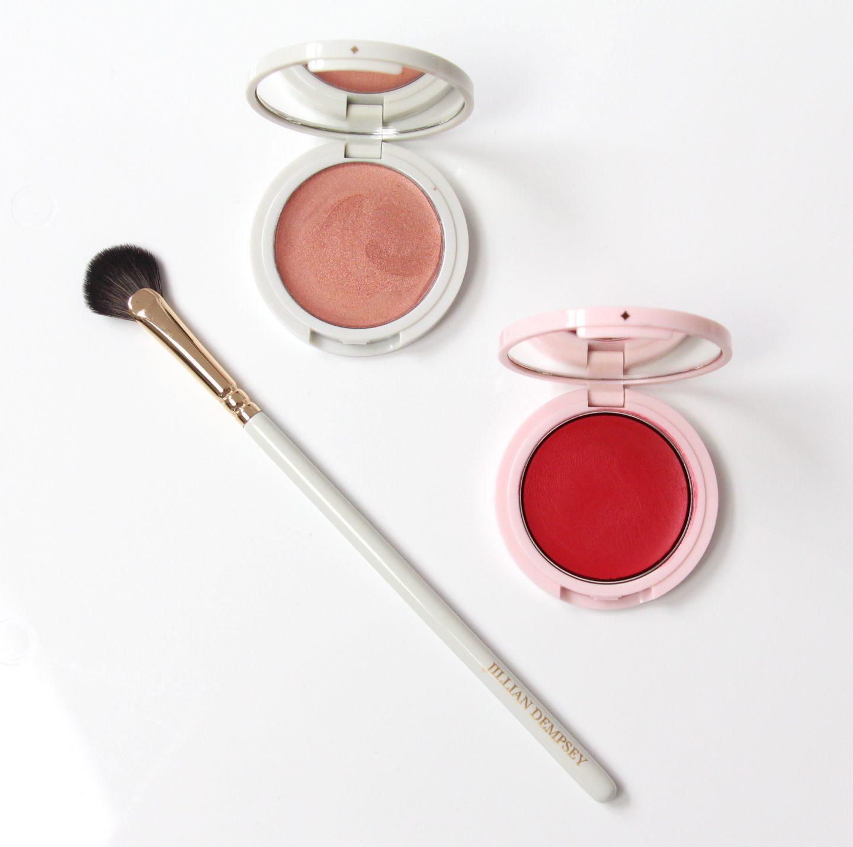 Jillian Dempsey mini fan brush, lid tint in glimmer and cheek tint in scarlet.
