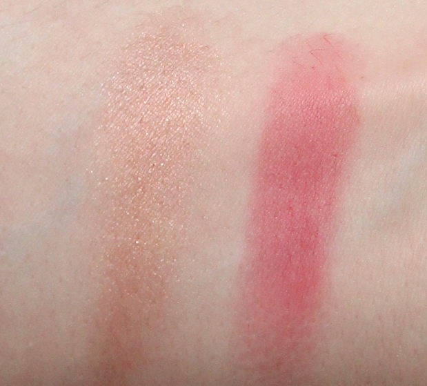 Jillian Dempsey arm swatches of the lid tint in glimmer and the cheek tint in scarlet.