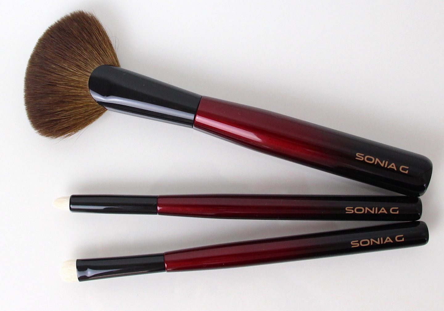 Sonia G makeup brushes: Sculpt Two (new), Pencil One (new) and smudger one (new)