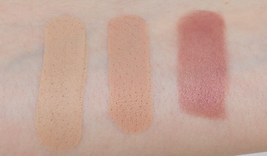 Arm Swatches of Clé de Peau Concealer in shades Ivory and Beige, and Lipstick in shade Bamboo