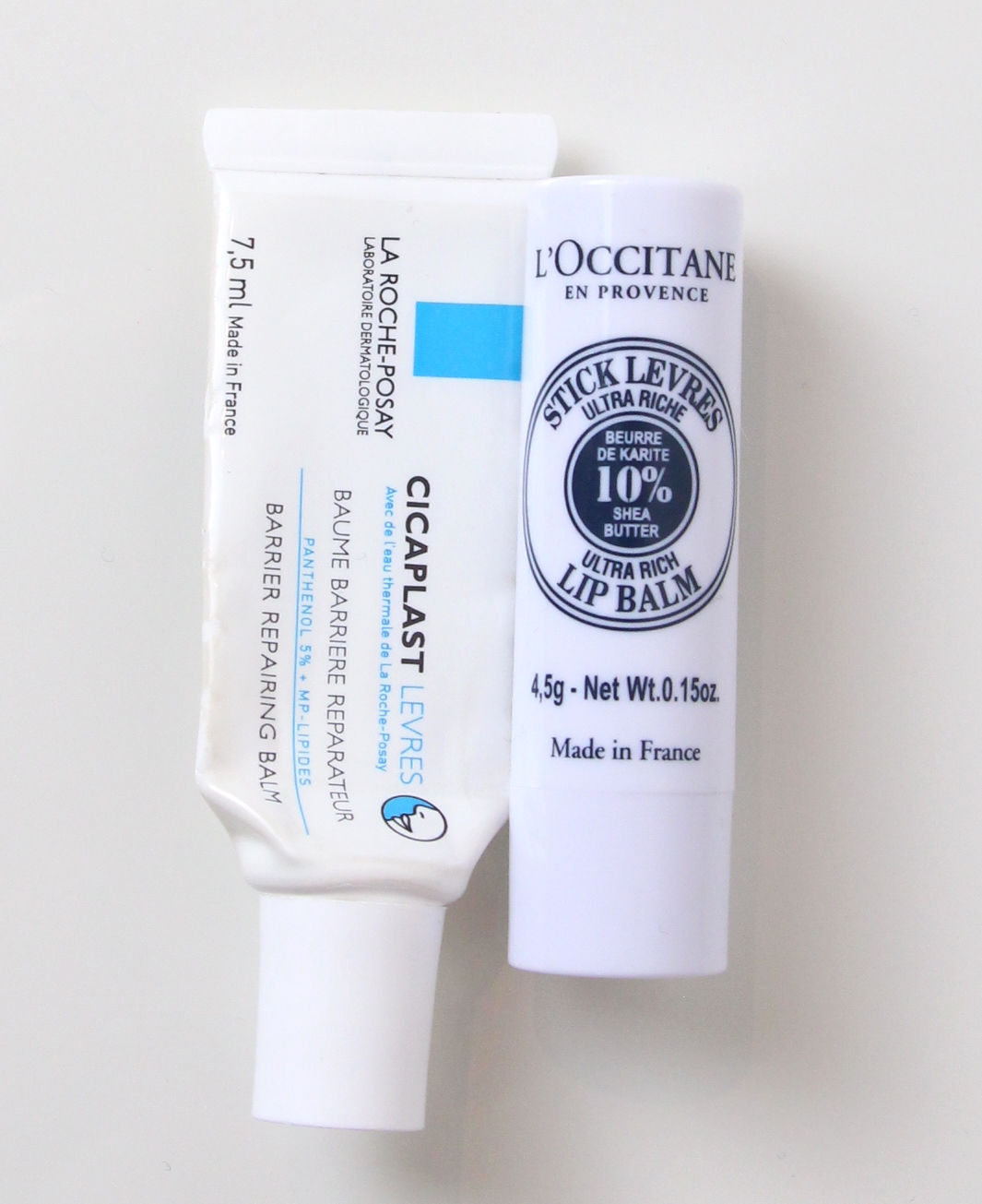 L'Occitane Natural Shea Ultra Rich Lip Balm, La Roche-Posay Cicaplast Levres Barrier Repairing Balm