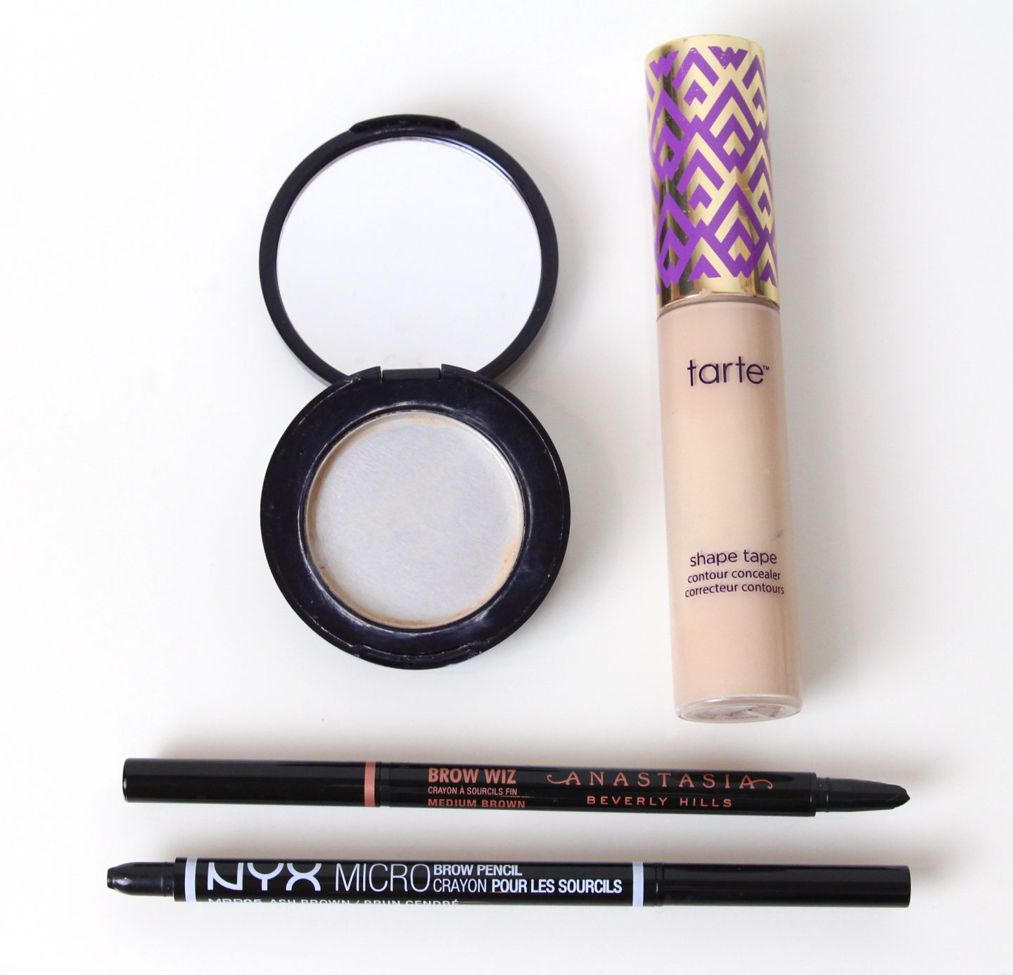 Anastasia Brow Wiz, NYX Micro Brow Pencil, Estee Lauder Double Wear Concealer, Tarte Shape Tape Concealer Light Sand