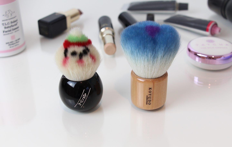 Koyudo Kabuki Brushes. Japanese Fude. Fude-Rinn and Blue Flower Kabuki Powder Brushes