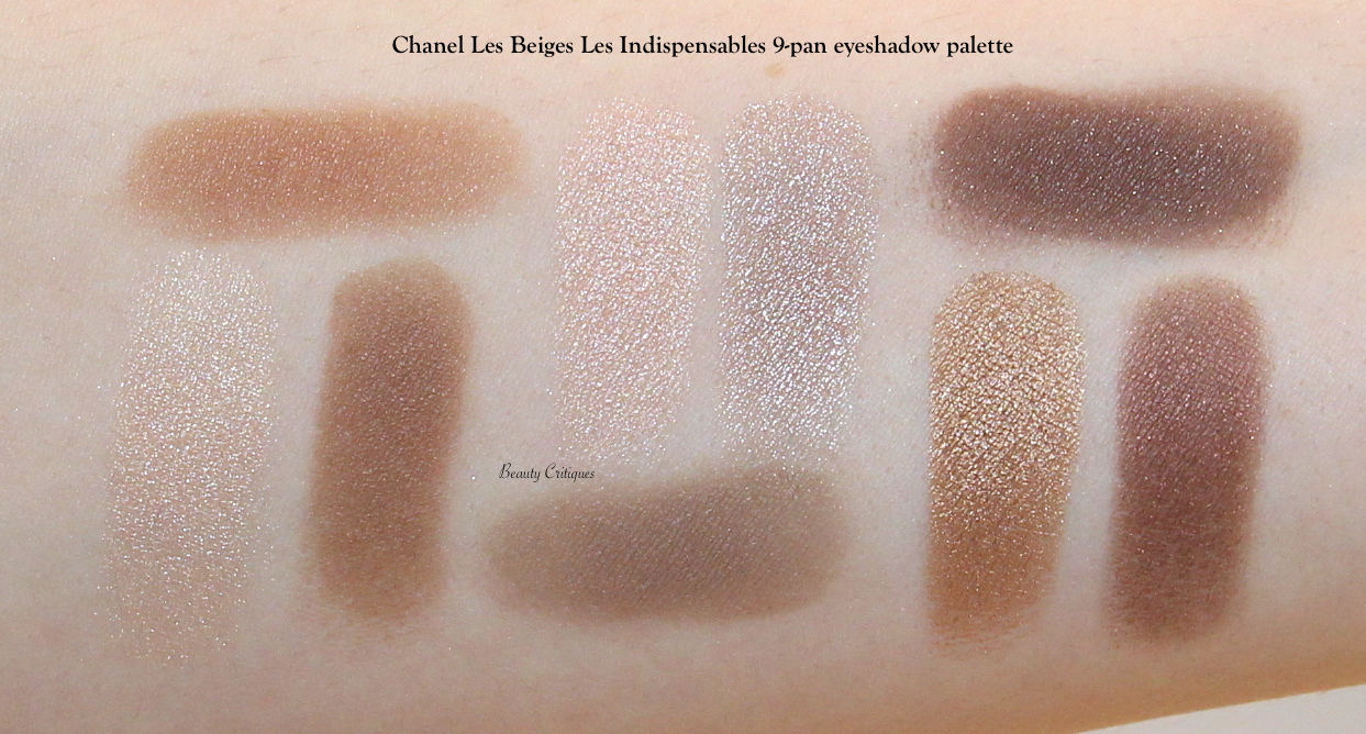Chanel Les Beiges Les Indispensables eyeshadow palette arm swatches