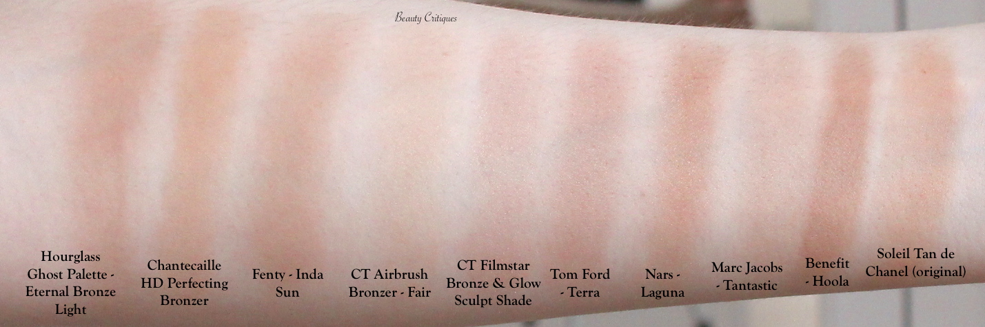 Swatches: Bronzer Collection 2020 including Charlotte Tilbury Airbrush Bronzer in shade fair