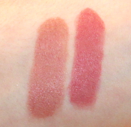 Bobbi Brown Lip Colour Lipstick swatches in shades Blush (left) and Sandwash Pink (Right)