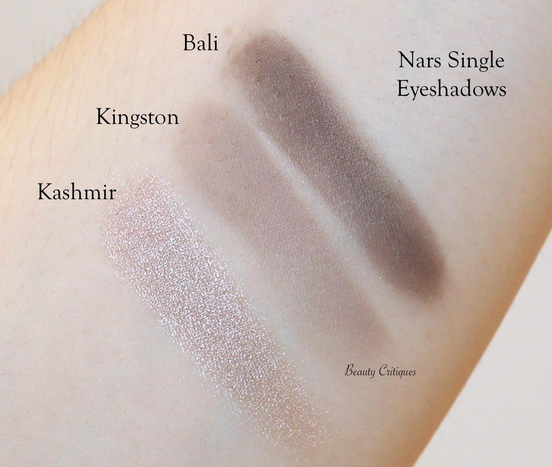 Nars Single Eyeshadow Swatches. Top - Bottom: Bali, Kingston, Kashmir
