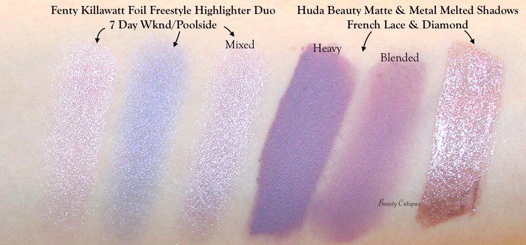 Light Purple Eyeshadow Swatches Fenty Highlighter Duo 7 Day Wknd/Poolside, Huda Matte & Metals French Lace & Diamond Drip