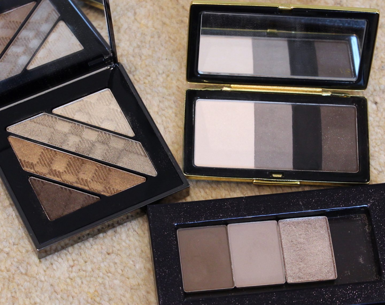 Eyeshadows: Nars Singles, Victoria Beckham Tuxedo, Burberry Gold Quad