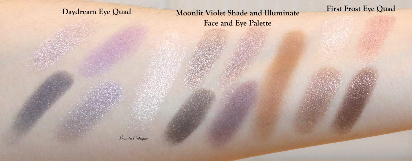 Tom Ford Daydream and First Frost Eye Quads, and Shade and Illuminate palette Moonlit Violet swatches