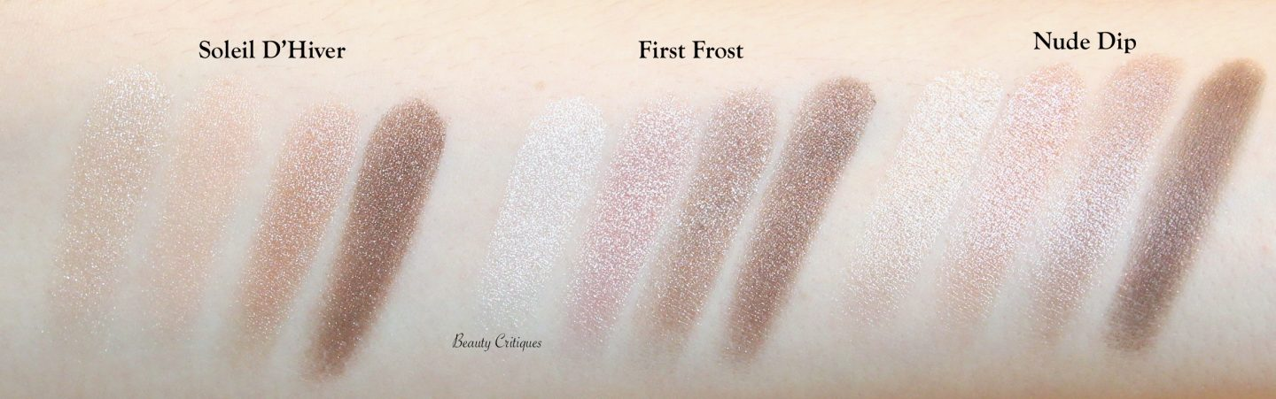 Tom Ford First Frost Eye Quad Comparison Swatches Soleil D'Hiver & Nude Dip
