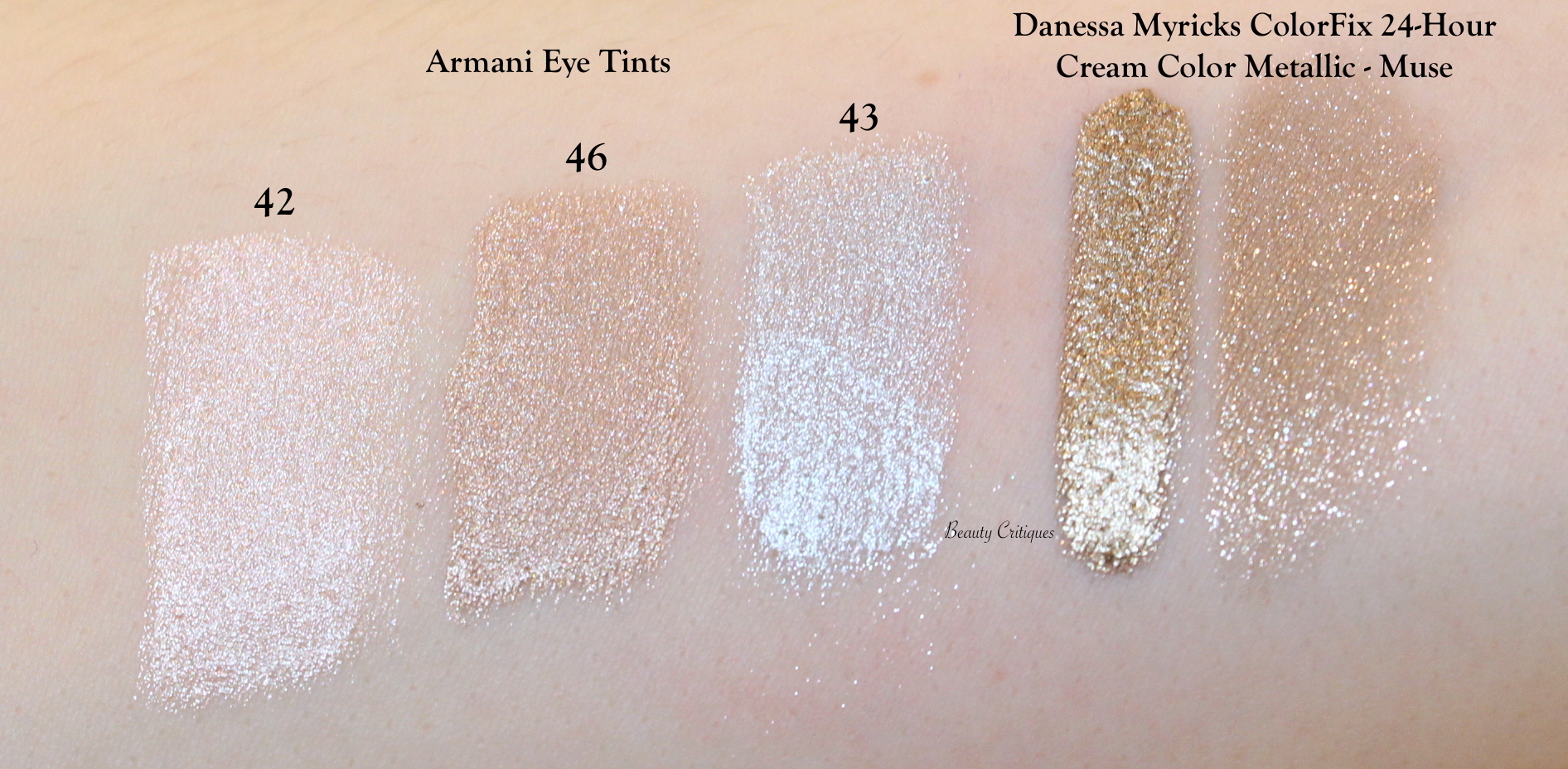 Armani Eye Tints 42, 43 & 46, Danessa Myricks ColorFix 24-hour cream colour metallic, shade Muse