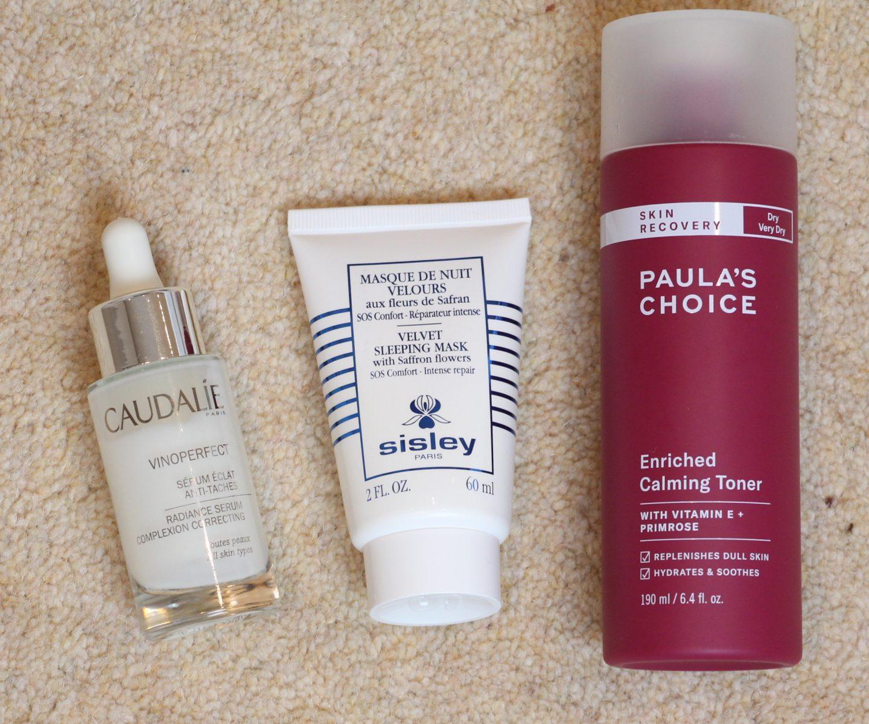 Skincare Favourites: Caudalie Vinoperfect Radiance Serum, Sisley Velvet Sleeping Mask, Paula's Choice Enriched Calming Toner