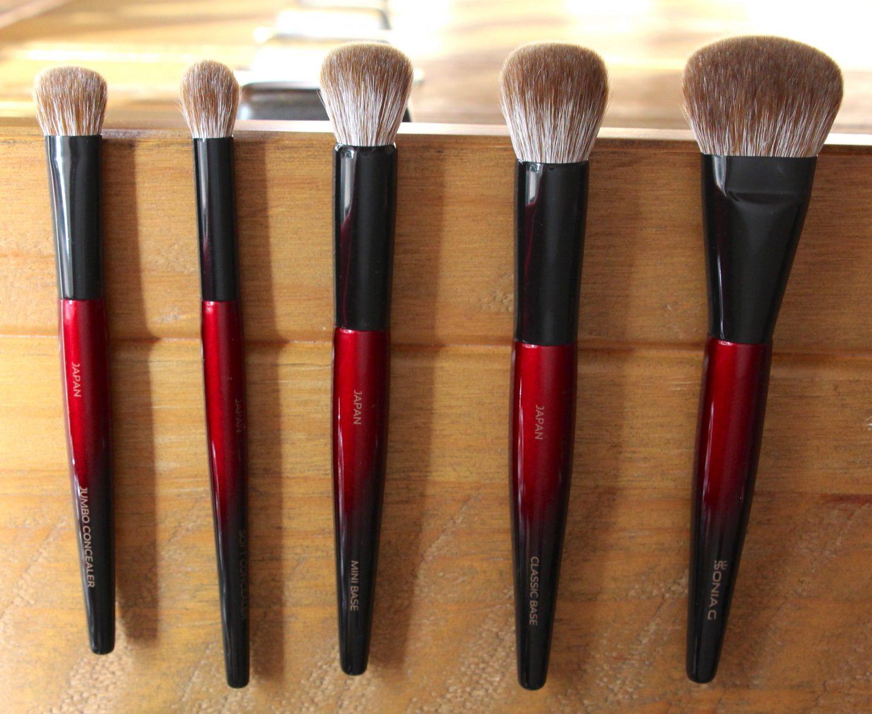 Sonia G Fusion Series Brushes. Left to Right: Jumbo Concealer, Soft Concealer, Mini Base, Classic Base, Jumbo Base