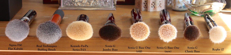 Sonia G Fusion Series foundation base brush comparisons. Sigma F80, Real Techniques buffing brush, Koyudo Fu-Pa F-03, Jumbo Base, Base One, Classic Base, Rephr 17