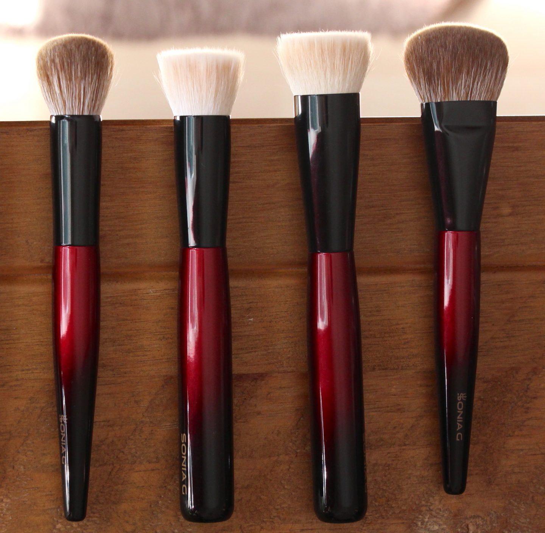 Sonia G Fusion Series foundation base brush comparisons. Jumbo Base, Base One, Classic Base