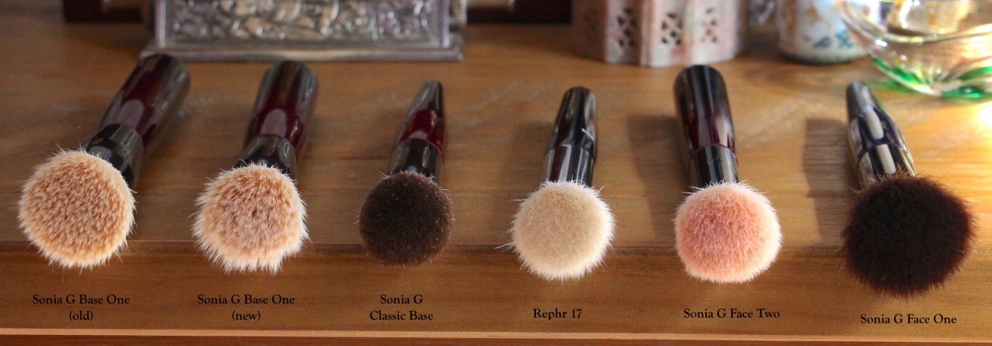 Sonia G Fusion Series Classic Base brush comparisons. Base One, Classic Base, Rephr 17, Face Two, Face One.