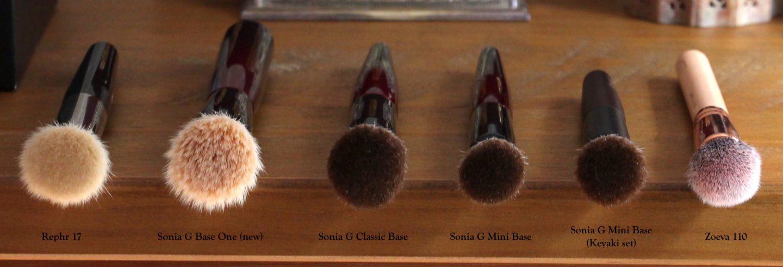Sonia G Fusion Series base brush comparisons. Rephr 17, Base One, Classic Base, Mini Base, Keyaki Mini Base, Zoeva 110