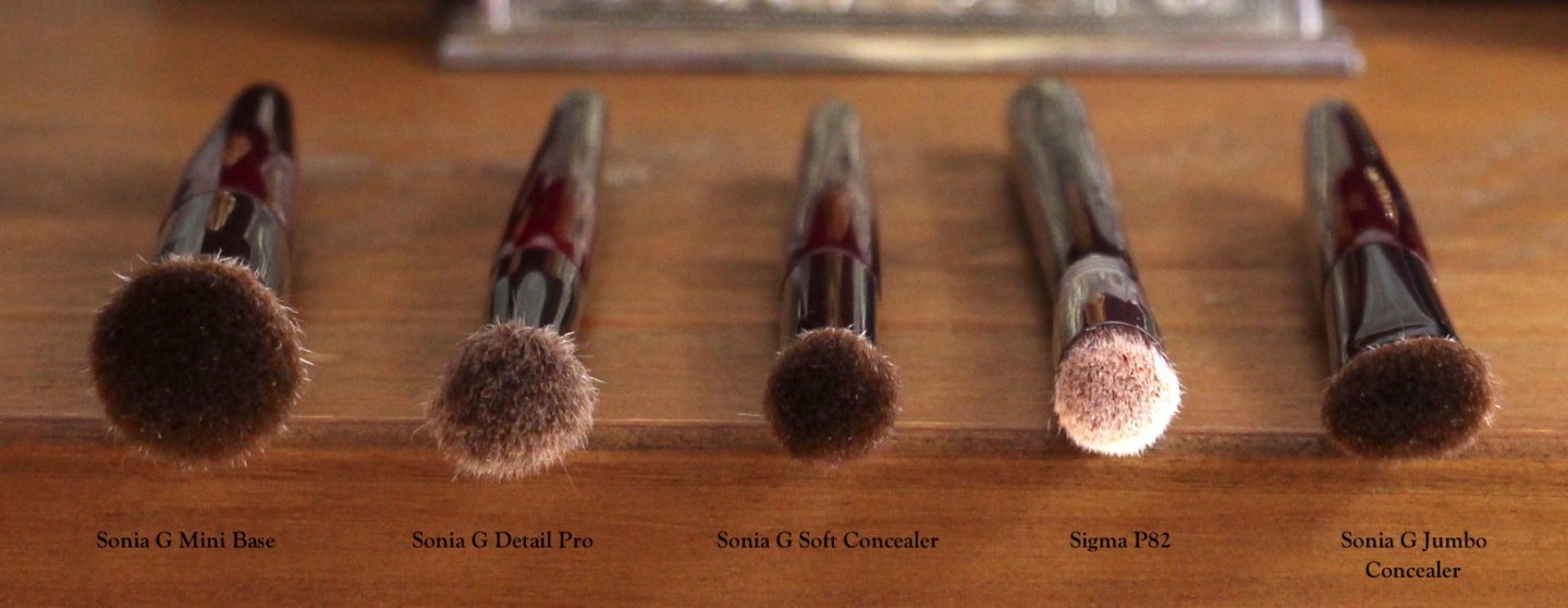 Sonia G Fusion Series Brushes and comparisons. Mini Base, Detail Pro, Soft Concealer, Sigma P82, Jumbo Concealer.