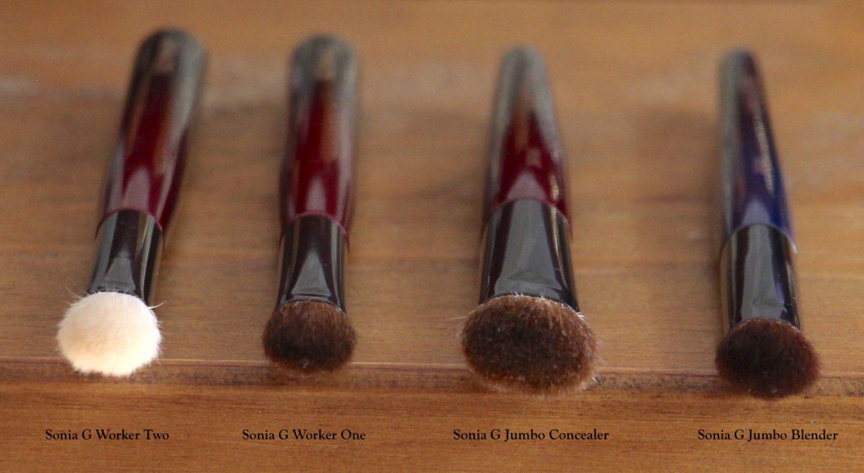 Sonia G Fusion Series Jumbo Concealer brush comparisons. Worker One & Two, Jumbo Concealer, Jumbo Blender.
