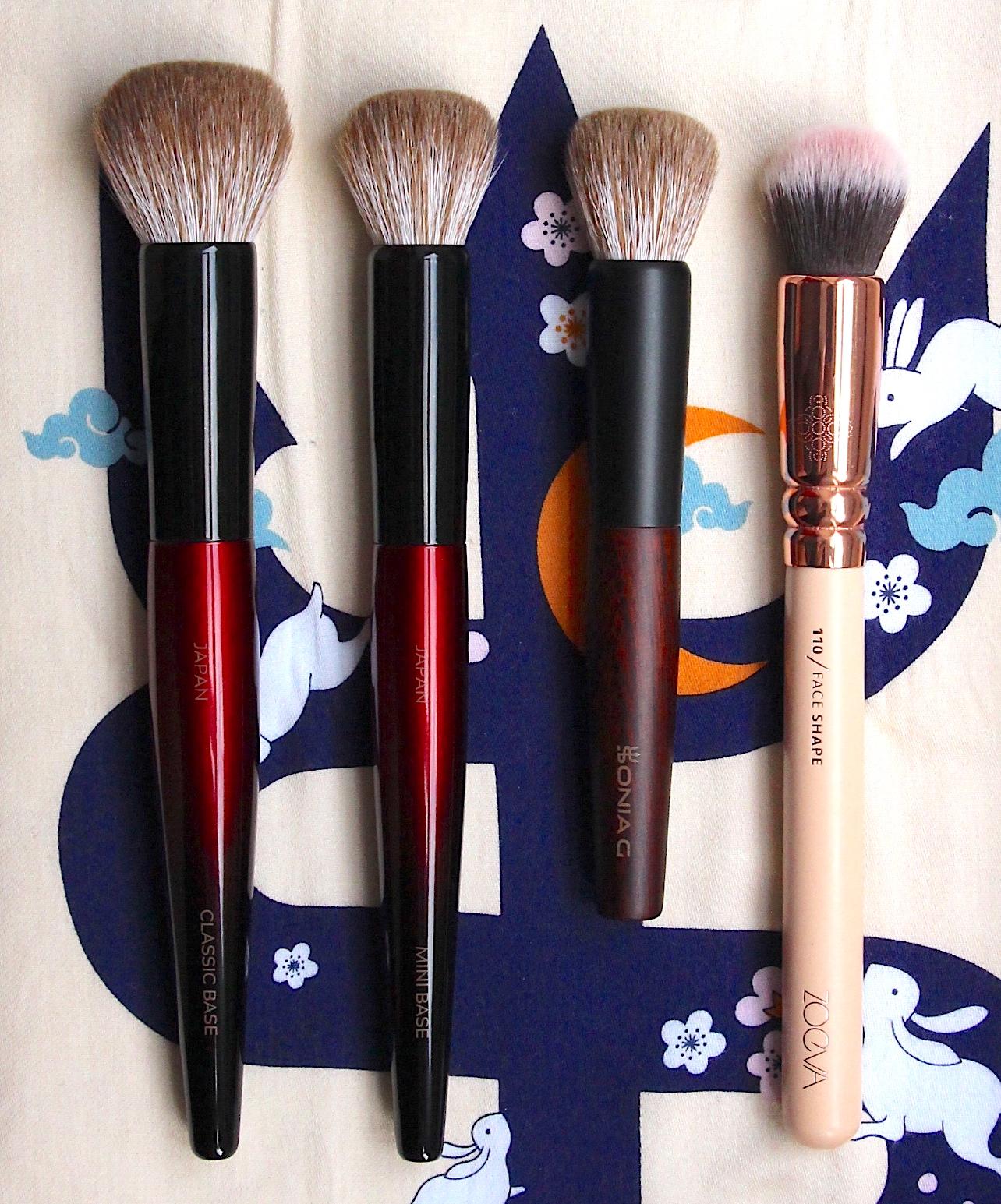 Sonia G Fusion Series base brush comparisons. Classic Base, Mini Base, Keyaki Mini Base, Zoeva 110